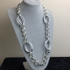 Dana Buchman silver tone long chain necklace